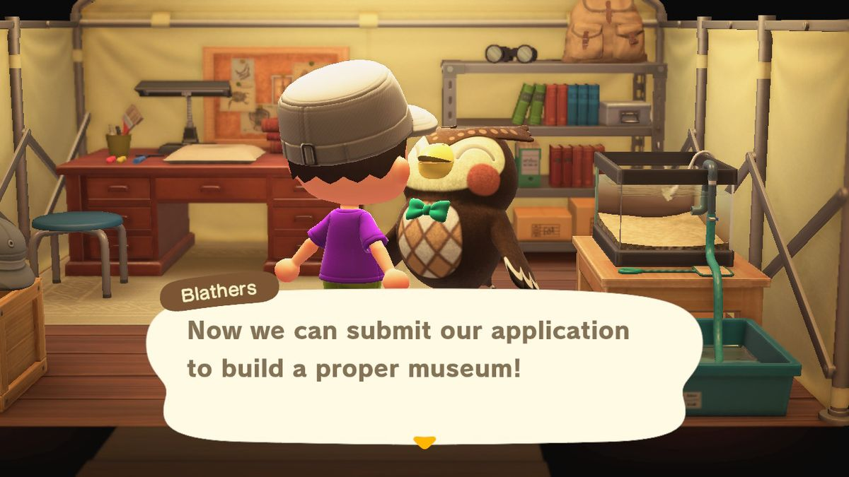 Inside Blathers test in Animal Crossing New Horizons