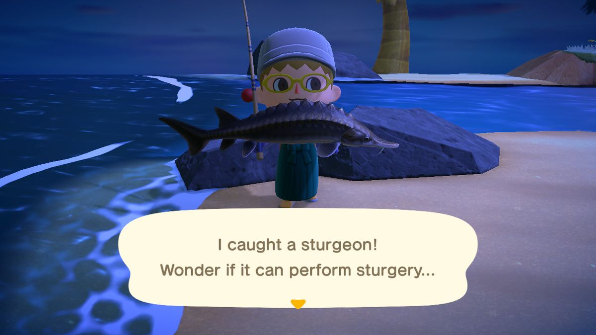 Finding a sturgeon in Animal Crossing New Horizons