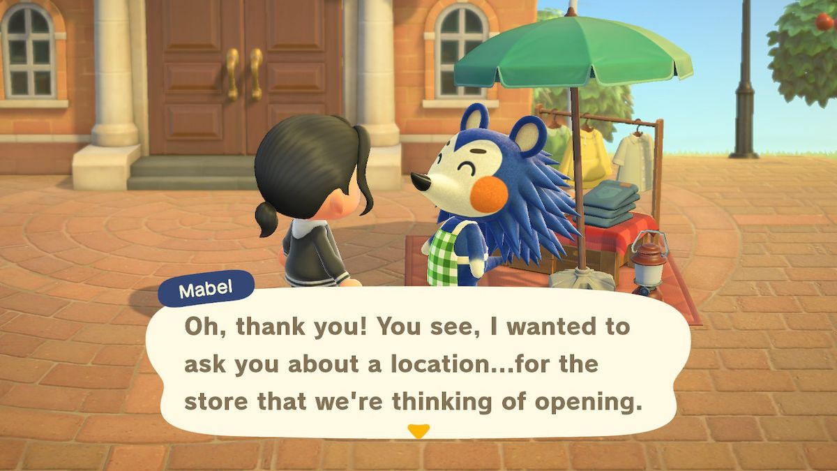 Sable, a blue hedgehog, telling an Animal Crossing character that she wants to open a store