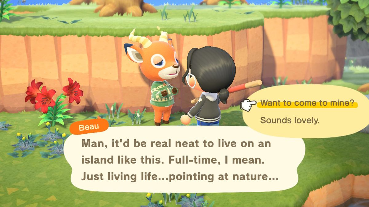 Beau, an orange deer, gets invited to live with your island