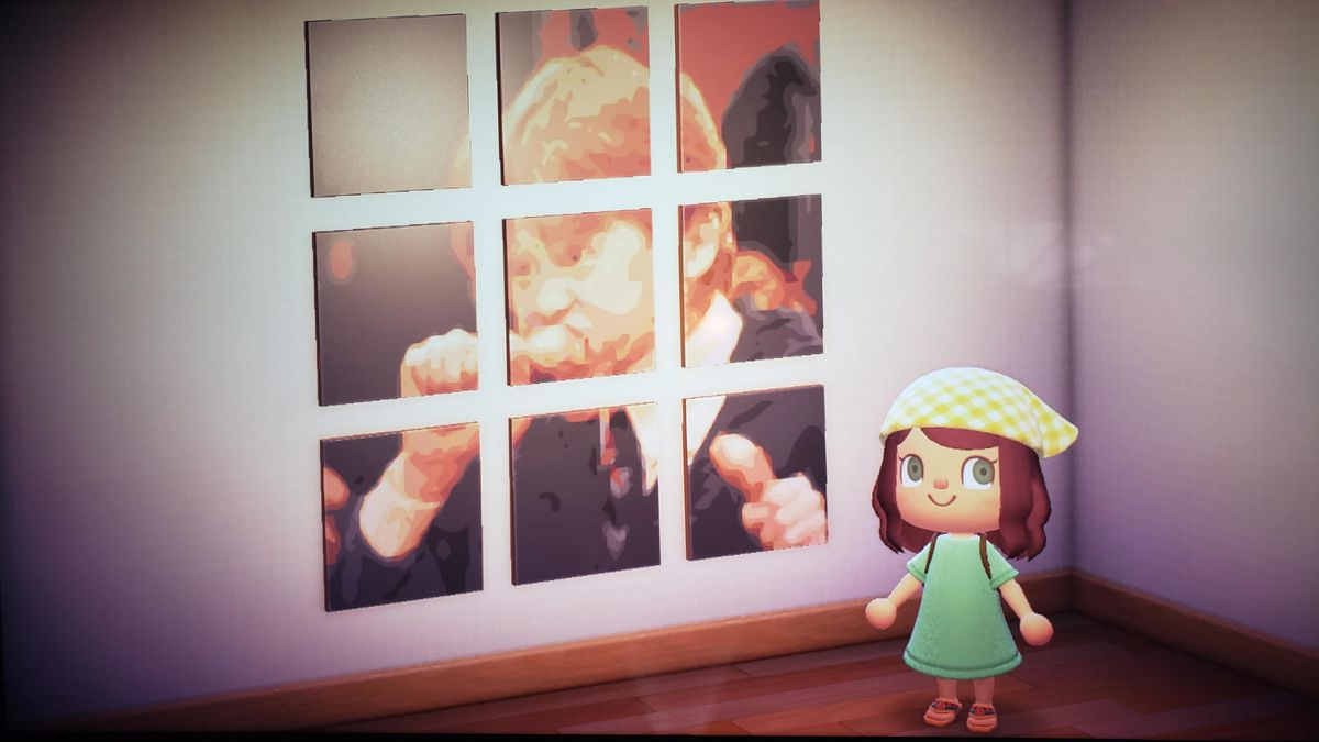 An Animal Crossing character stands in front of several canvases that make up an image of Ron Weasley eating chicken.