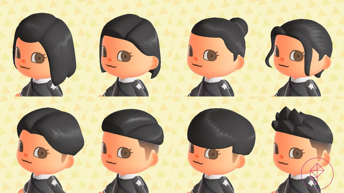An Animal Crossing character with eight different hairstyles, including a tight bun and styled bangs