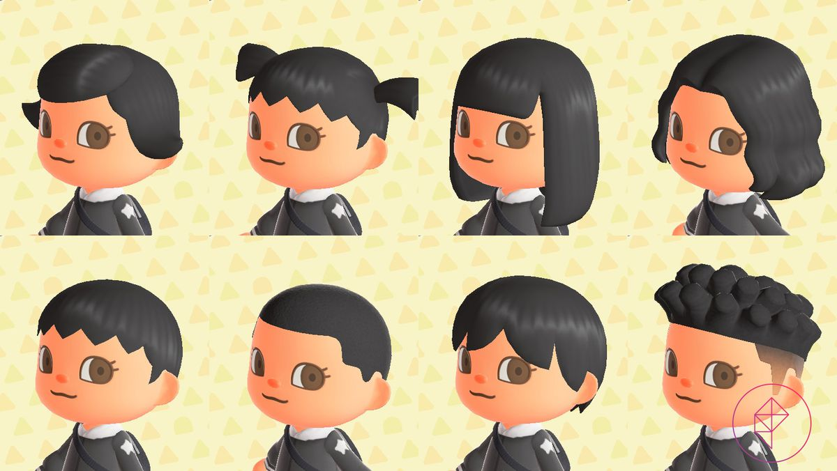 An Animal Crossing character showing off a variety of eight different hairstyles, including pigtails