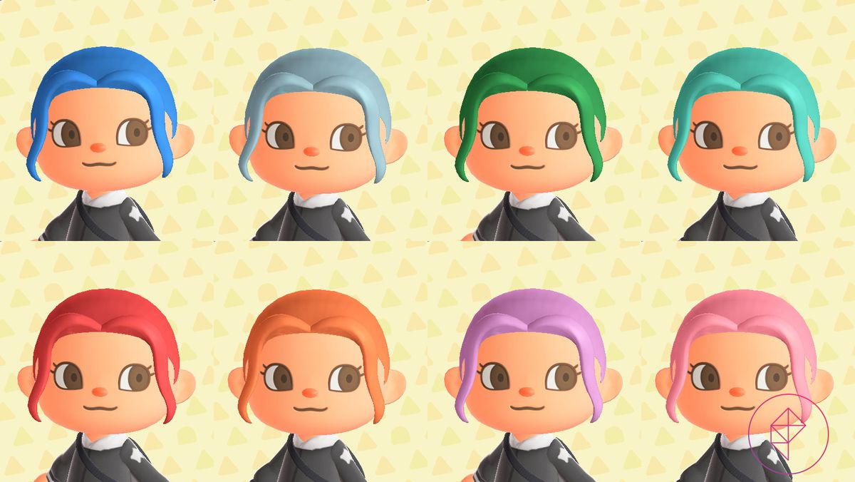 An Animal Crossing characters showcases eight dyed hair colors, including blue, green, and pink