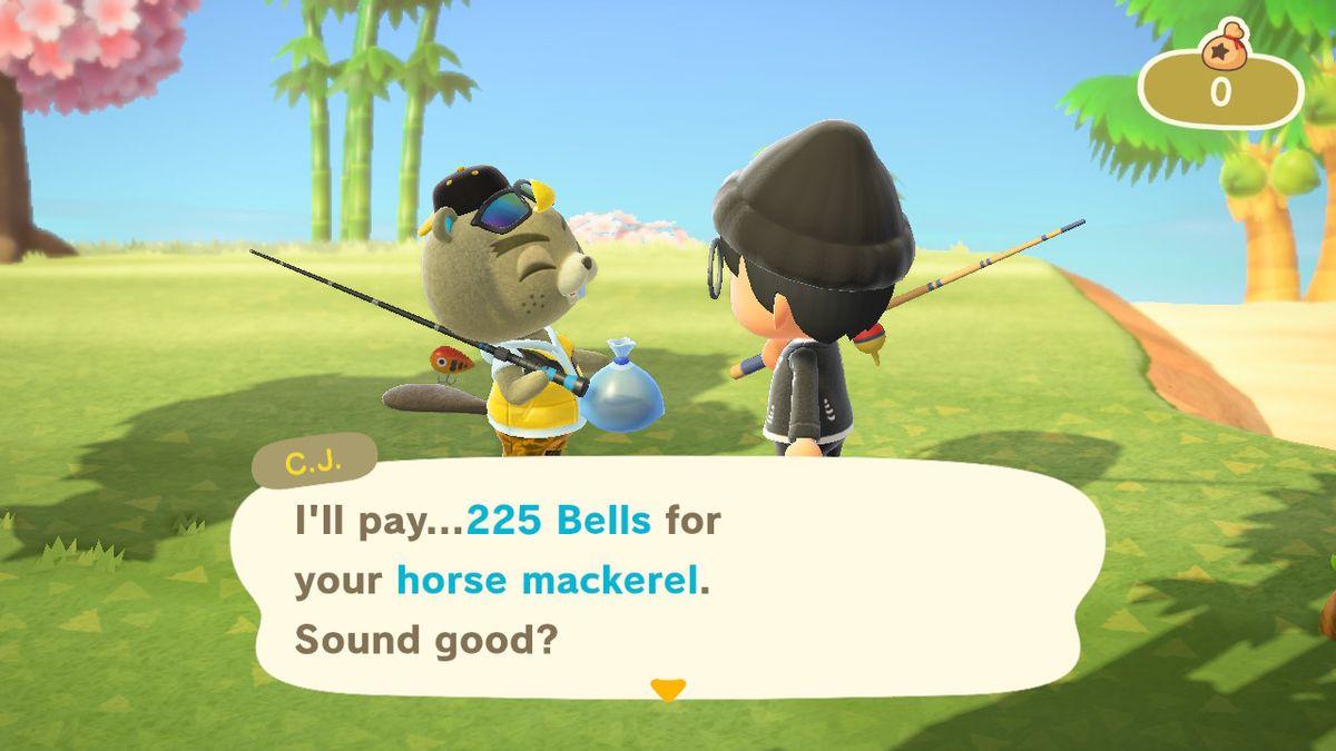 Animal Crossing: New Horizon's fish vendor C.J. buying fish at a markup