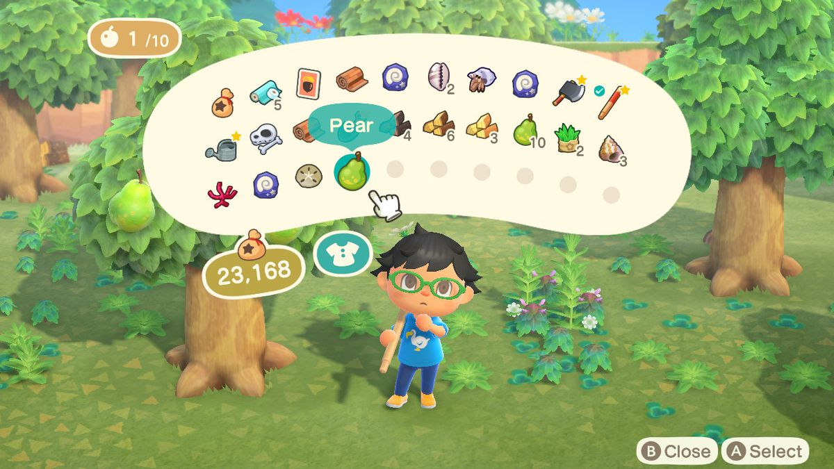 A villager looks at their inventory in Animal Crossing: New Horizons