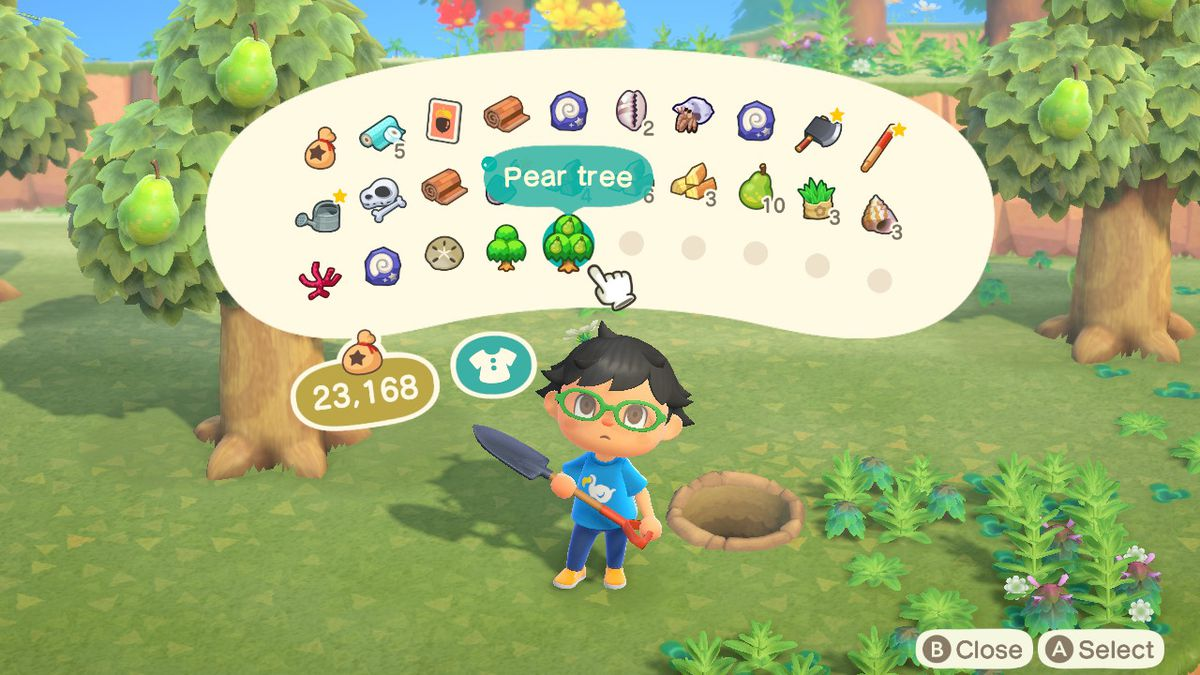 A villager looks at trees in their inventory in Animal Crossing: New Horizons