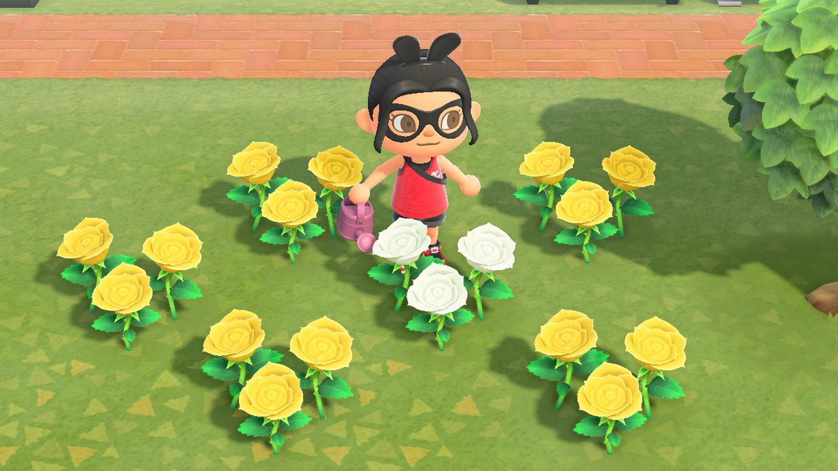An Animal Crossing character stands near yellow and white roses