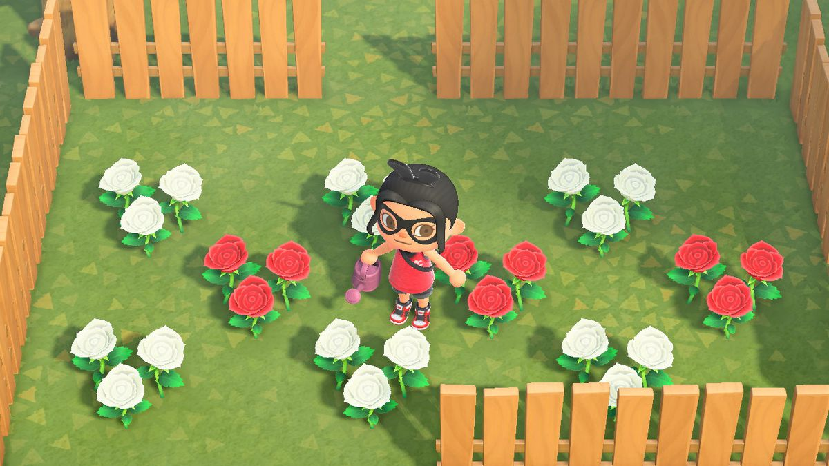 An Animal Crossing character stands in a patch of flowers arranged in a checkerboard pattern