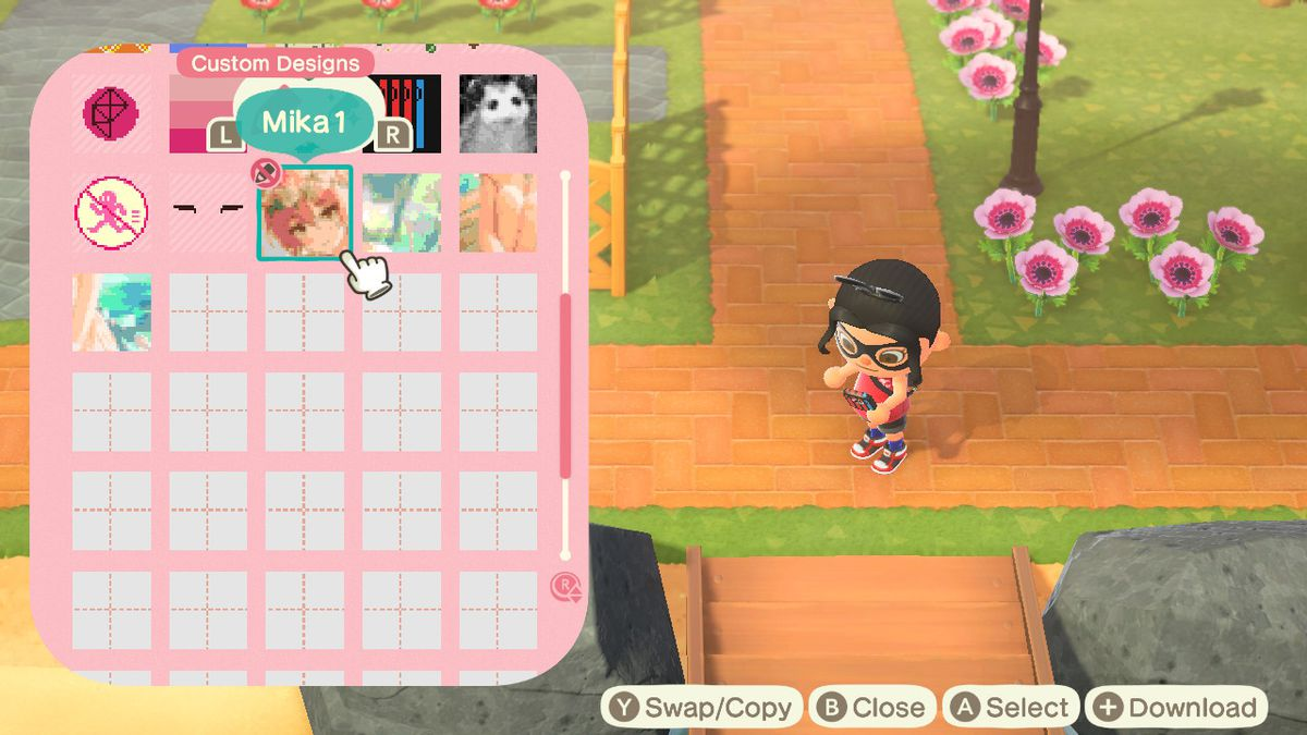 An Animal Crossing character looks at her patterns on her phone