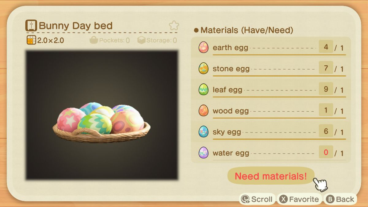 A crafting screen in Animal Crossing showing how to make a Bunny Day Bed