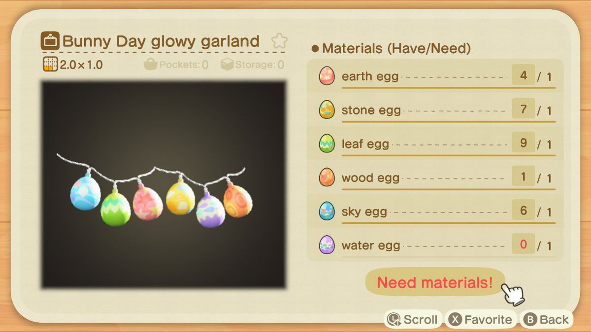 A crafting screen in Animal Crossing showing how to make a Bunny Day Glowy Garland