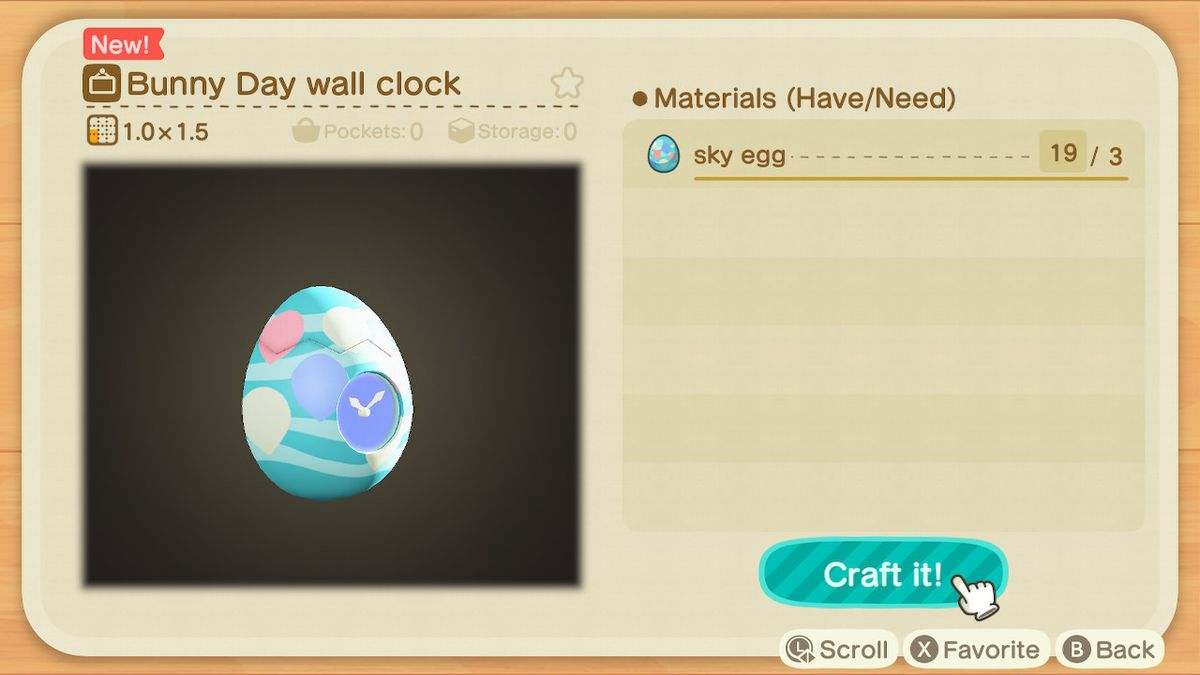 A crafting screen in Animal Crossing showing how to make a Bunn Day Wall Clock