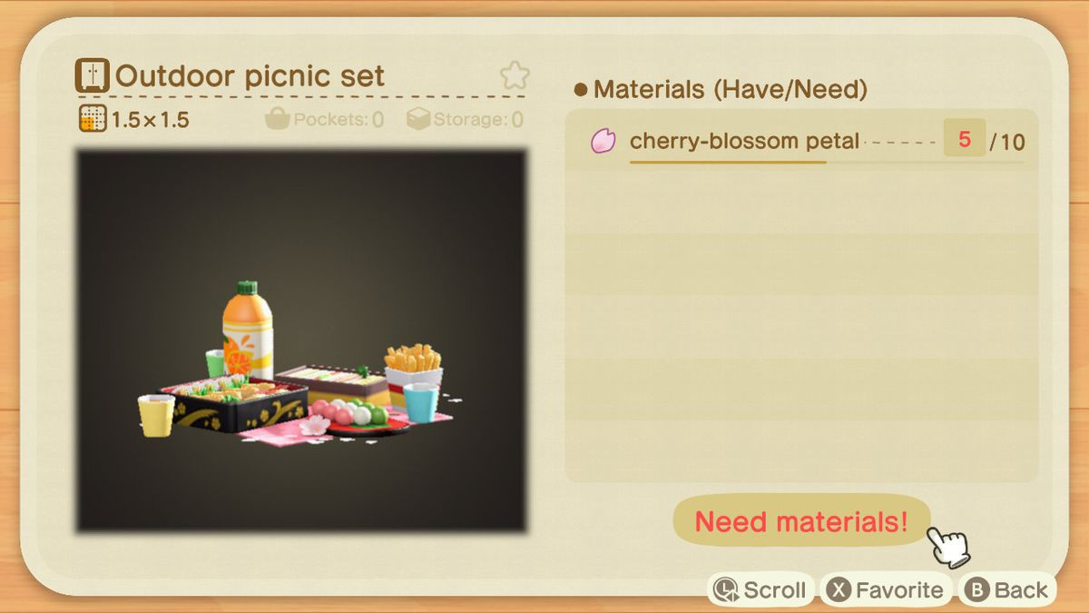 A crafting screen in Animal Crossing showing how to make an Outdoor Picnic Set