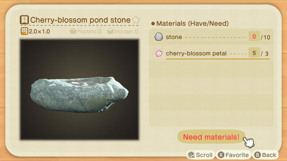 A crafting screen in Animal Crossing showing how to make a Cherry-blossom Pond Stone