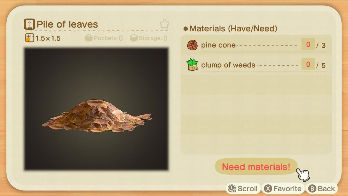 An Animal Crossing: New Horizons recipe for a Pile of Leaves