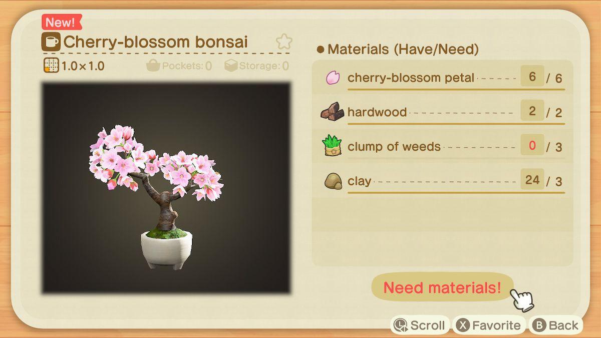 An Animal Crossing: New Horizons recipe for a Cherry-blossom bonsai