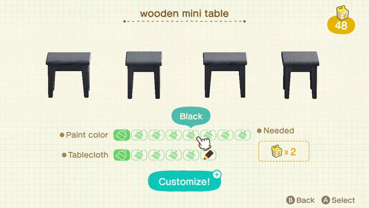 The furniture customization screen in Animal Crossing: New Horizons