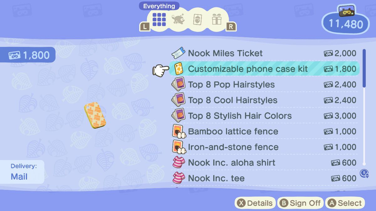 A menu showing off the price of a customizable phone kit in Animal Crossing: New Horizons