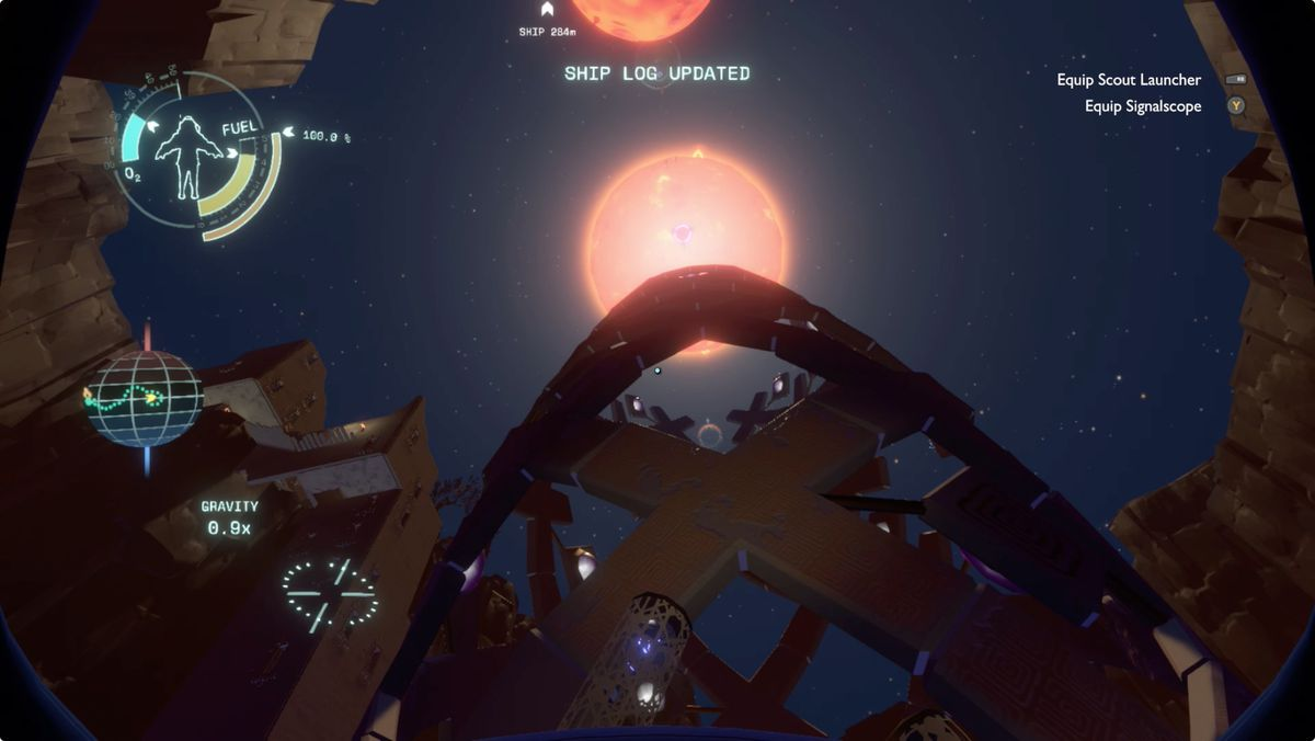 Outer Wilds Brittle Hollow Gravity Cannon shuttle