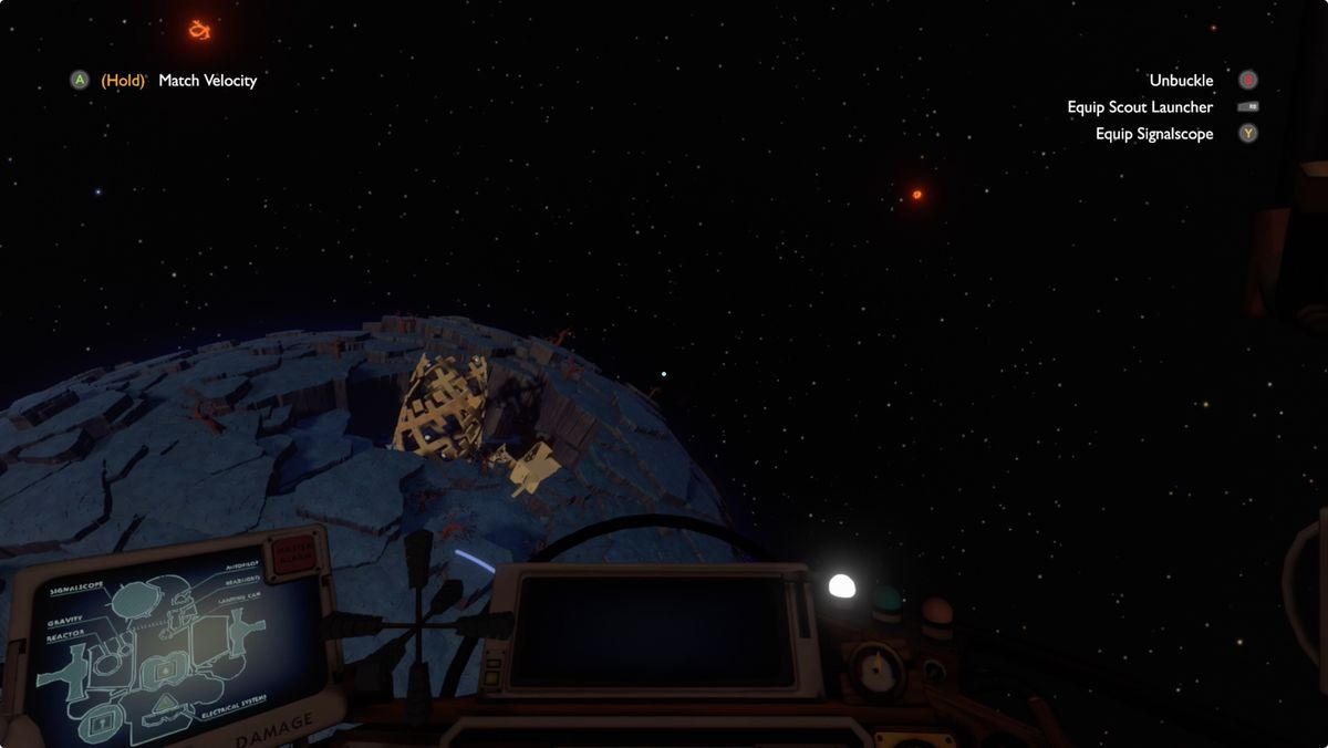 Outer Wilds Brittle Hollow Gravity Cannon from orbit
