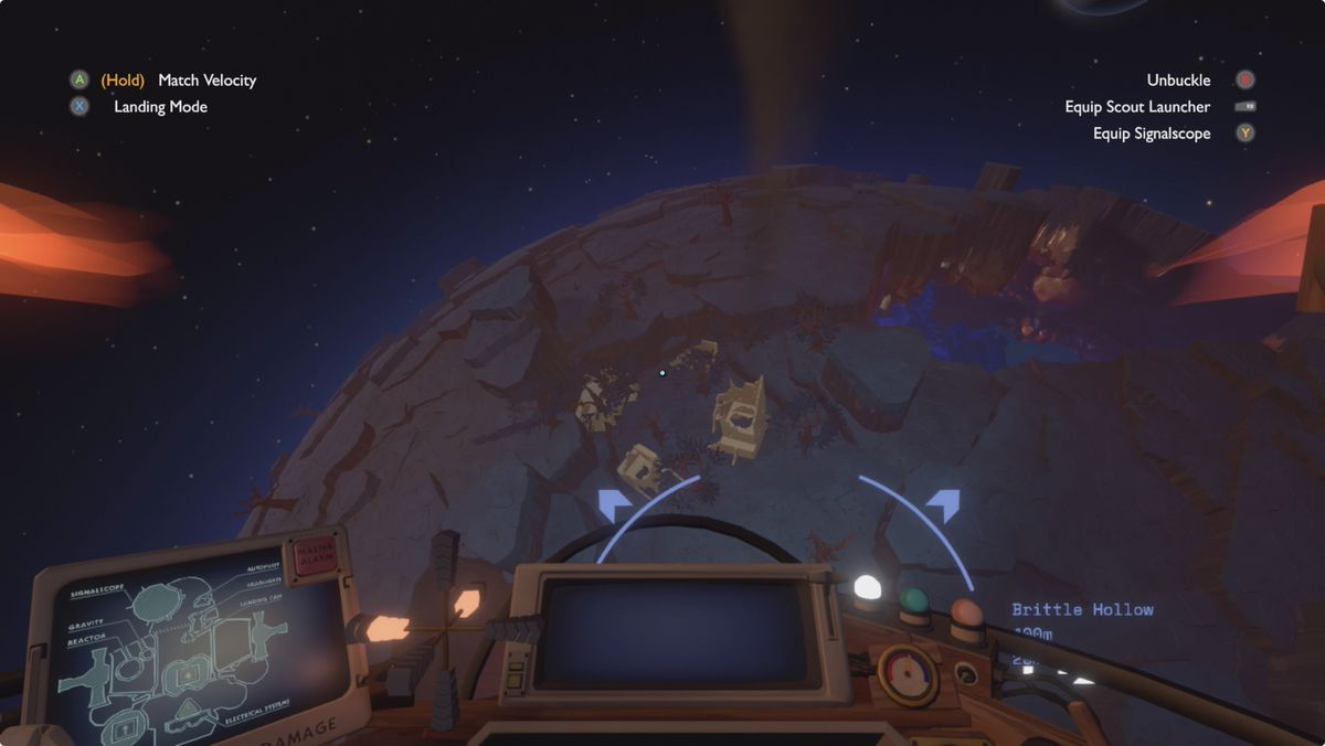 Outer Wilds Gravity Crystal Workshop and Riebeck on Brittle Hollow