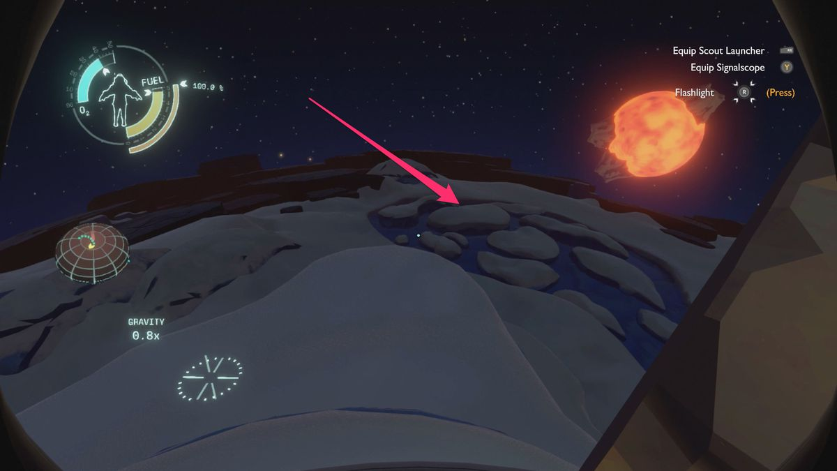 Outer Wilds Brittle Hollow Northern Glacier tunnel to Hanging City