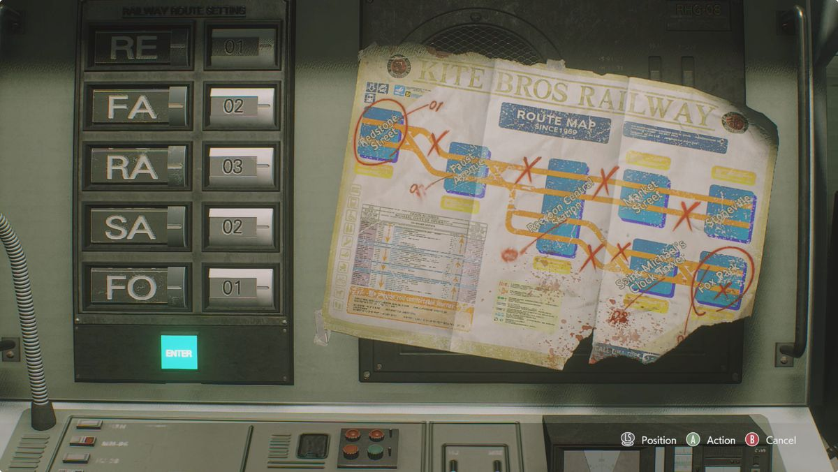 Resident Evil 3 Subway Office Control Panel puzzle solution