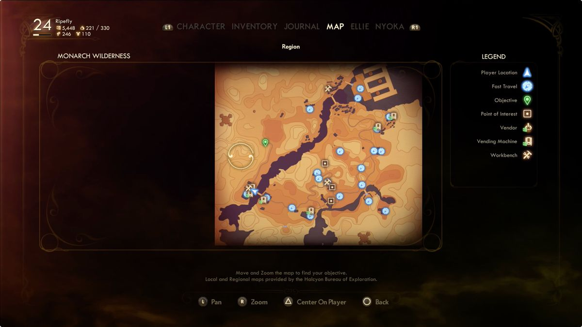 The Outer Worlds Canid's Cradle ship crash location map