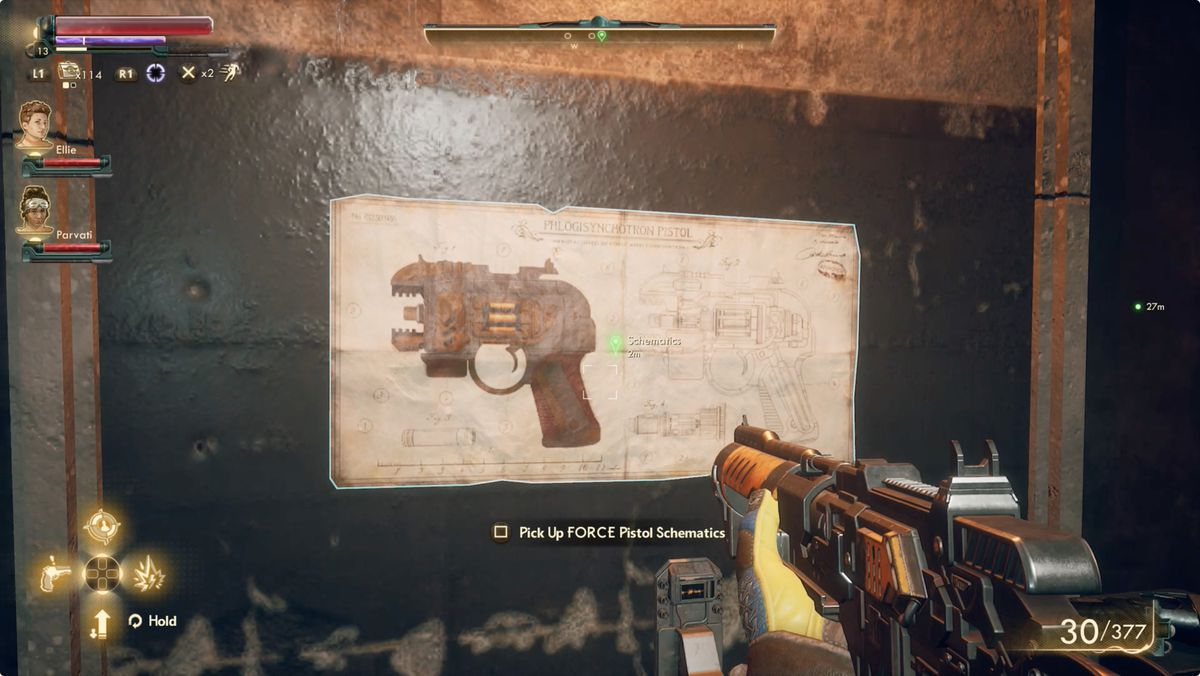 The Outer Worlds Roseway Storage Facility Armory weapon schematics.