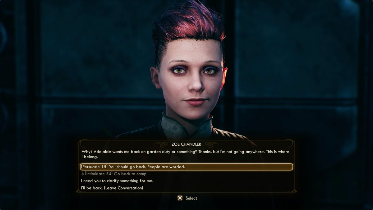 The Outer Worlds dialog skills - trying to use persuasion in a conversation with Zoe Chandler