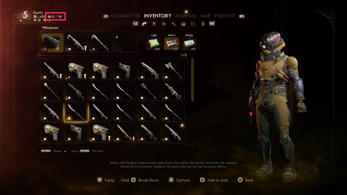 a screenshot of the player's inventory in The Outer Worlds showing that they are encumbered