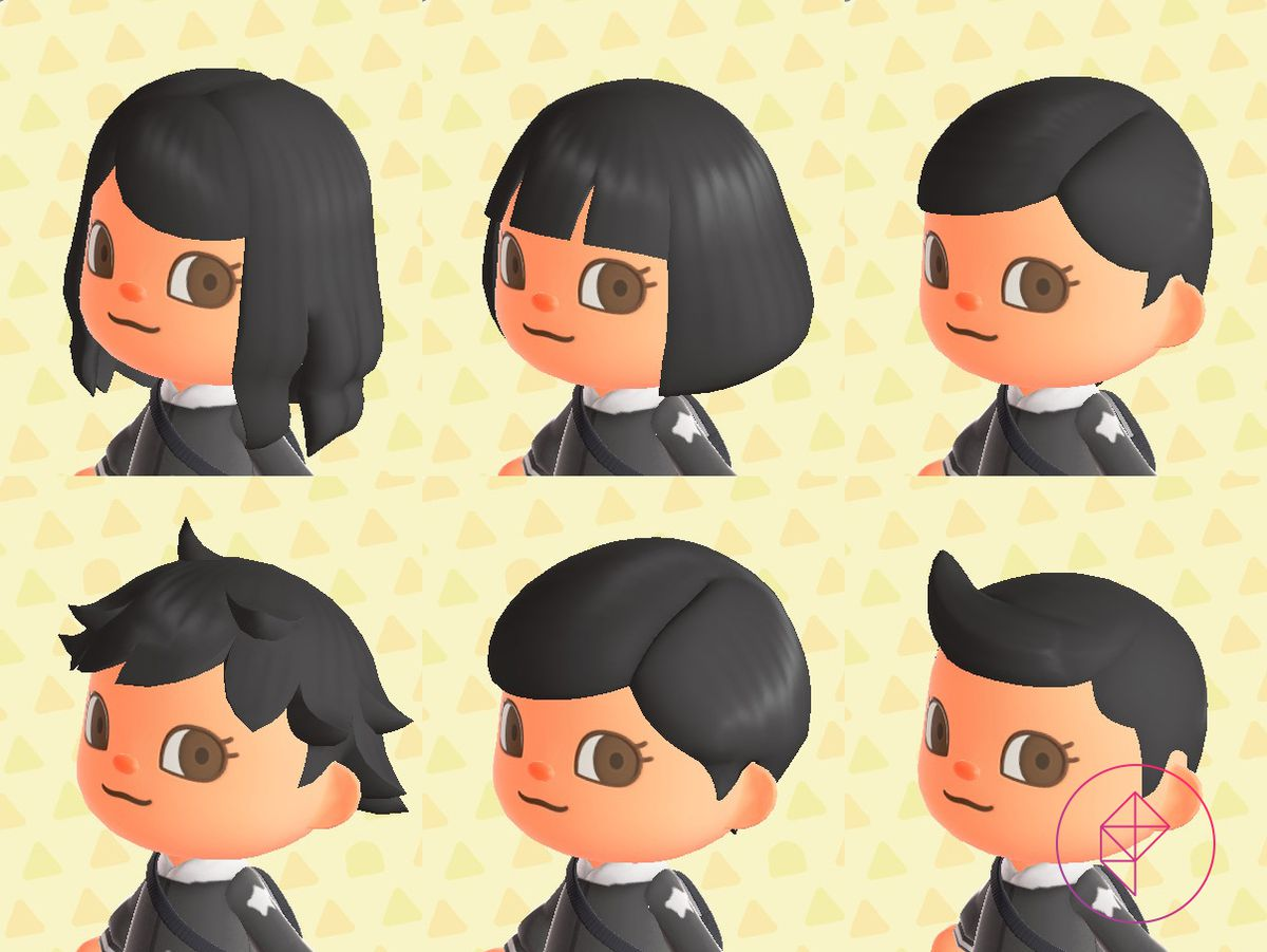 Six hairstyles on an Animal Crossing villager, including a messy short cut and long wavy hair